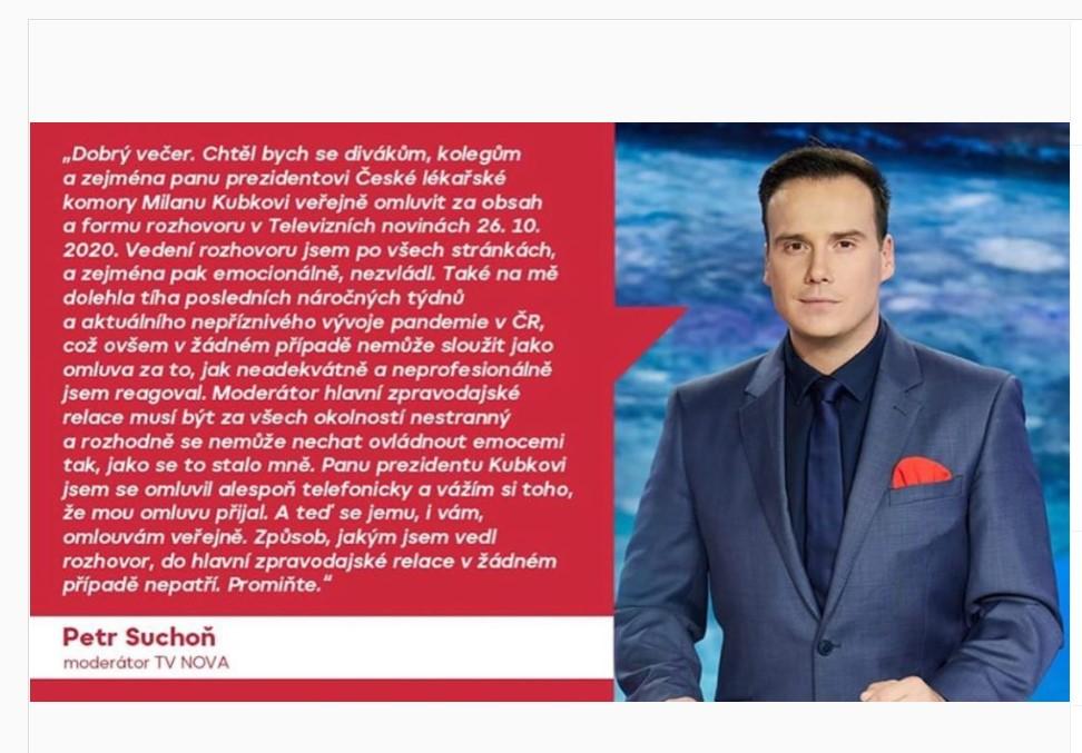 Moderátor Suchoň selhal v přímem přenosu: dostal se do konfliktu s šéfem České lékařské komory Milana Kubka, za svou chybu se již omluvil - Zivot